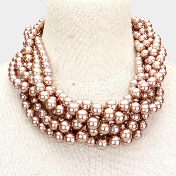 Braided Brown Pearl Necklace & Earring Set