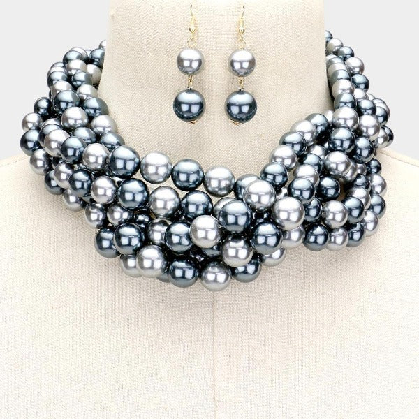 Braided Gray Pearl Necklace & Earring Set