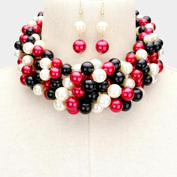 Braided Multi-Colored Pearl Necklace & Earring Set