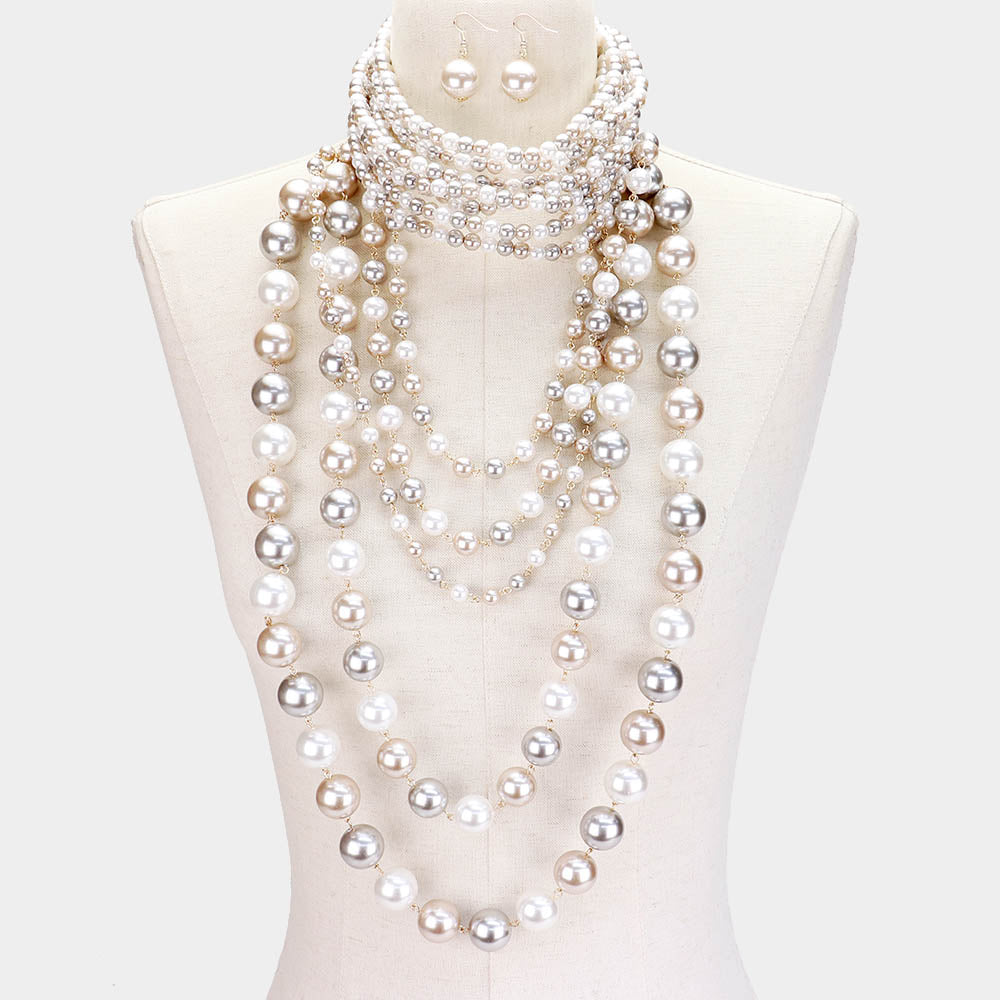 Pearl (faux) Choker & Layered Pearl Armor Set