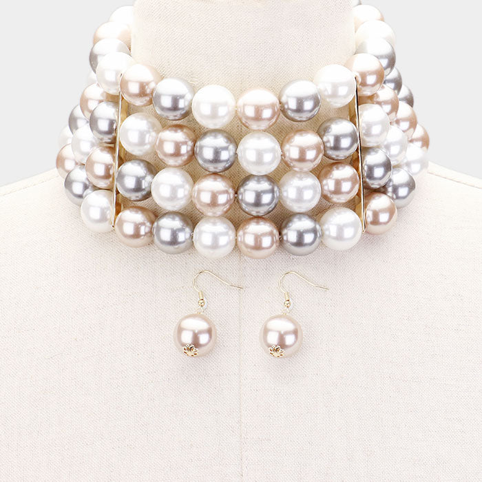 Pearl White Beige Gold Choker Necklace & Earring Set