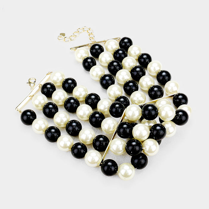 Pearl Black Cream Choker Necklace & Earring Set