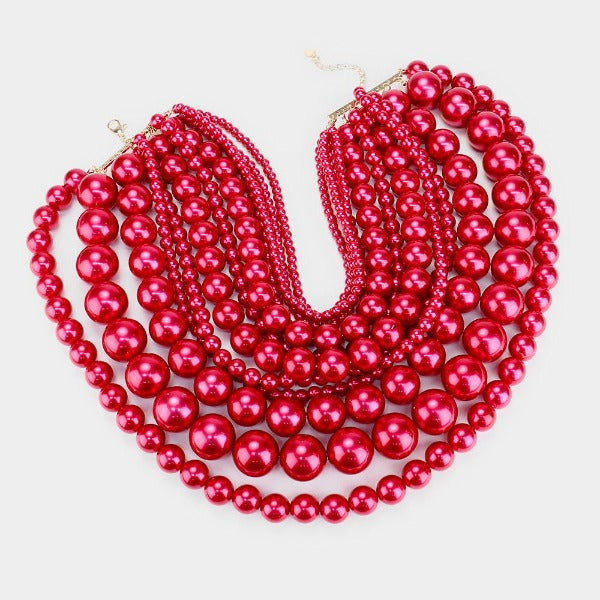Pearl (faux) Red Bib Necklace Set