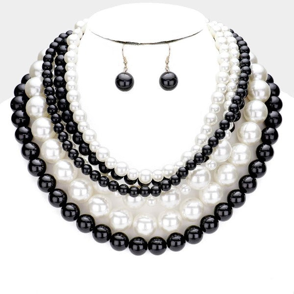 Pearl (faux) Black & Cream Collar Necklace Set