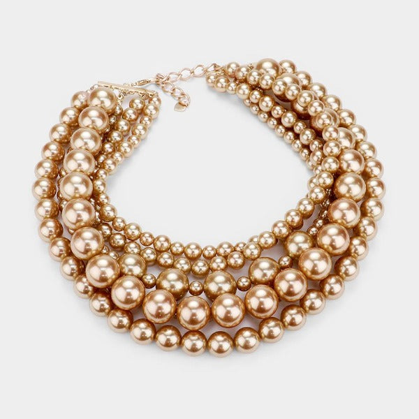 Pearl (faux) Gold Collar Necklace Set