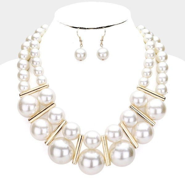 Chunky Pearl (faux) Cream Statement Necklace