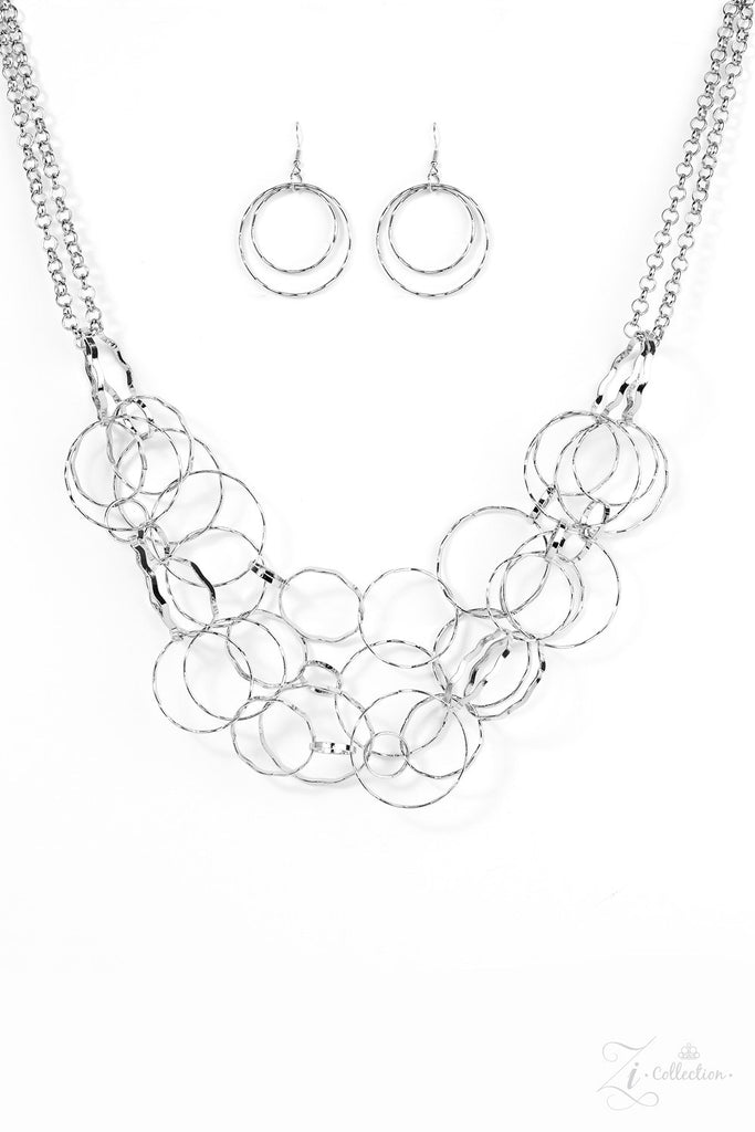"Zi Collection ""Rebellion"" Silver Hoops Long Necklace & Earrings Set"