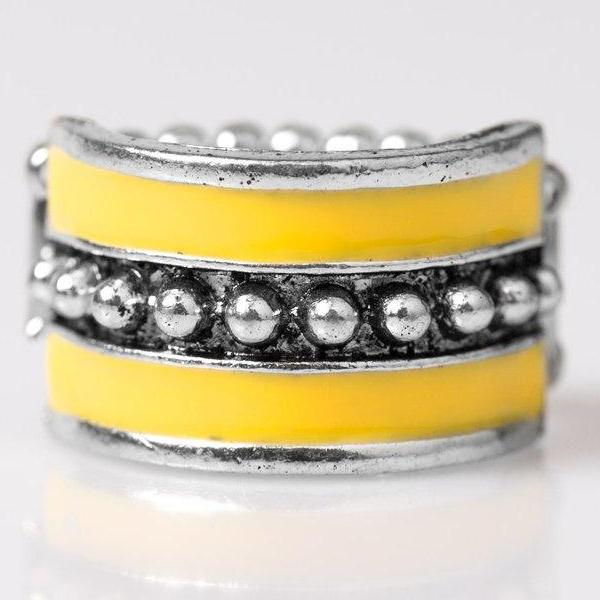 """Castaway Cay"" Yellow Silver Studs Tribal Inspired Fashion Ring"
