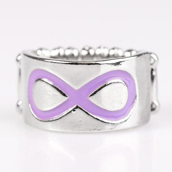 """Timeless Sophistication"" Purple Infinity Silver Stretch Ring"