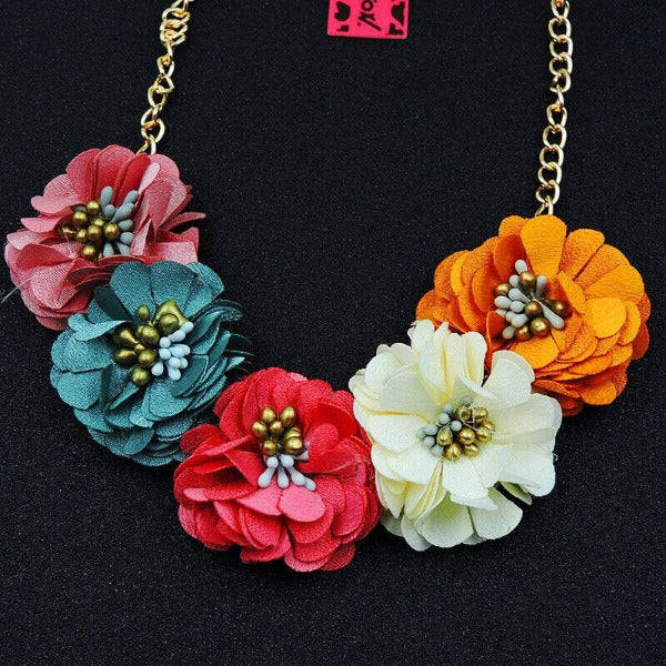 Betsey Johnson Flower Multi-Color Gold Necklace