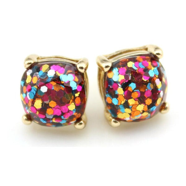 Pink Rainbow Glitter Gold Tone Earrings