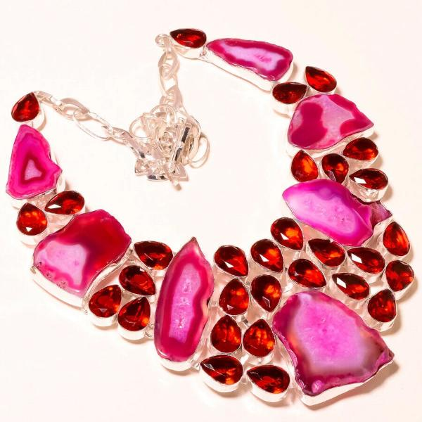 Pink Botswana Agate, Mozambique Garnet Silver Plated Necklace 18""
