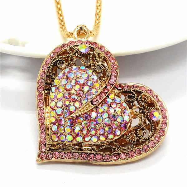Betsey Johnson Heart Pink & White Crystals Gold Pendant Necklace