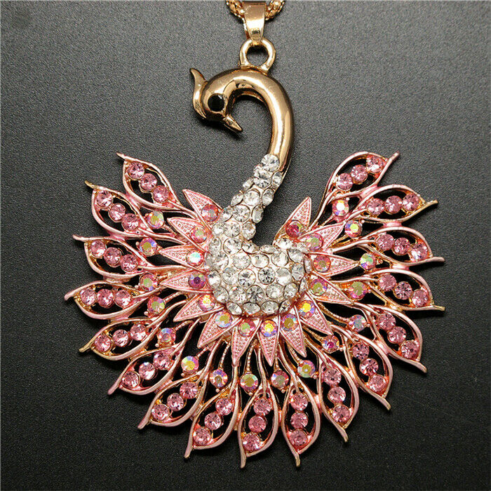 Betsey Johnson Peacock Bird Pink Rhinestone Gold Pendant Necklace