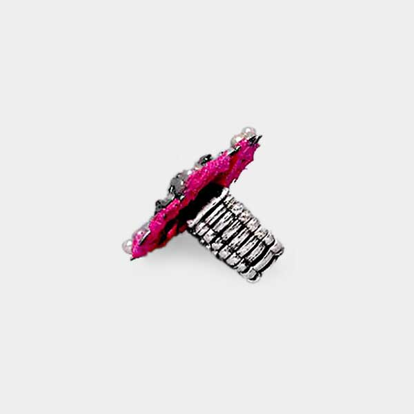 Pink Beaded Retro Silver Stretch Ring