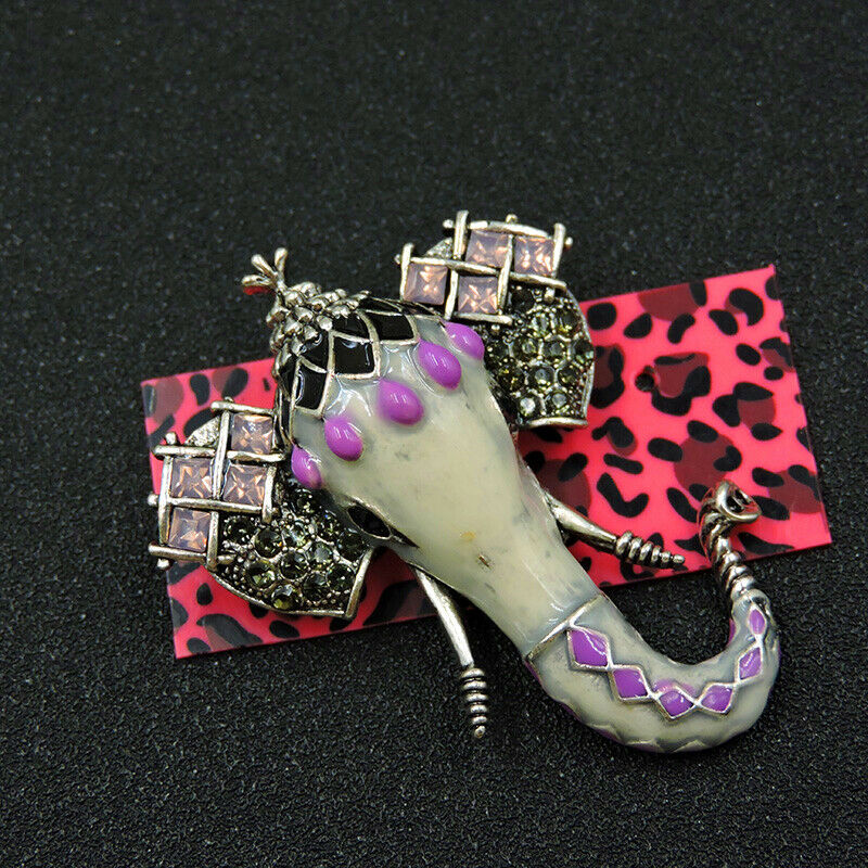 Betsey Johnson Elephant Enamel Rhinestone Brooch Pin