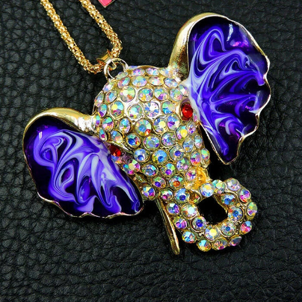Betsey Johnson Elephant Purple Ears Red Eyes Gold Necklace