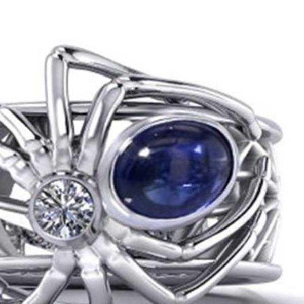 Spider 1.68 Ct Synthetic Blue & White Sapphire Silver Halloween Ring Size 10