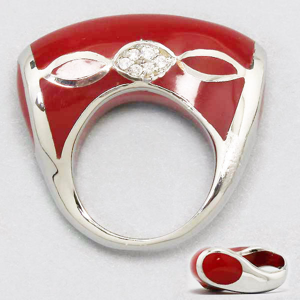 Red Enamel, Silver Rhodium & Clear Sparkly Rhinestone Fashion Ring