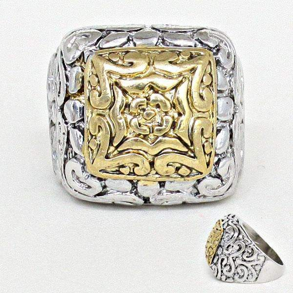 Silver Burnished & Gold Square Size 9 Statement Ring