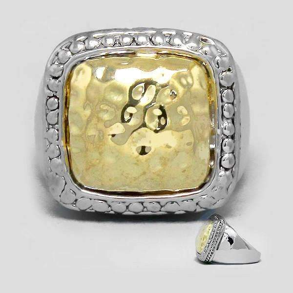 Big, Bold, Silver & Gold Square Size 9 Statement Ring