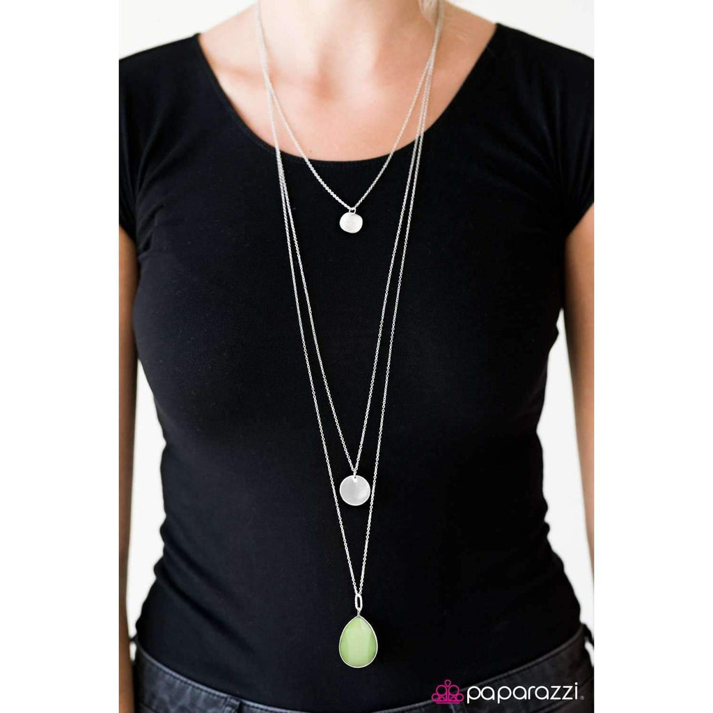 Paparazzi RAIN Supreme Faceted Green Teardrop Silver Necklace & Earring Set