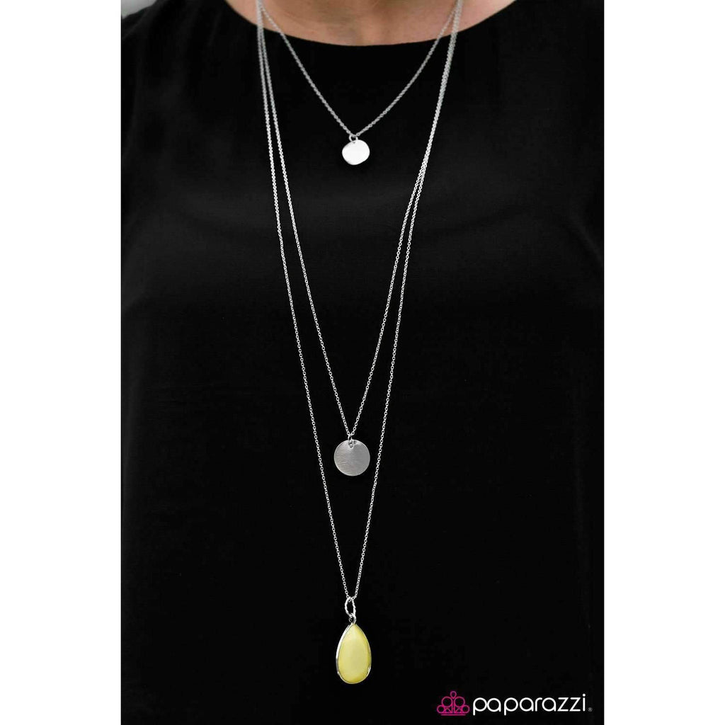 """RAIN Supreme"" Faceted Yellow Teardrop Silver Necklace & Earring Set"