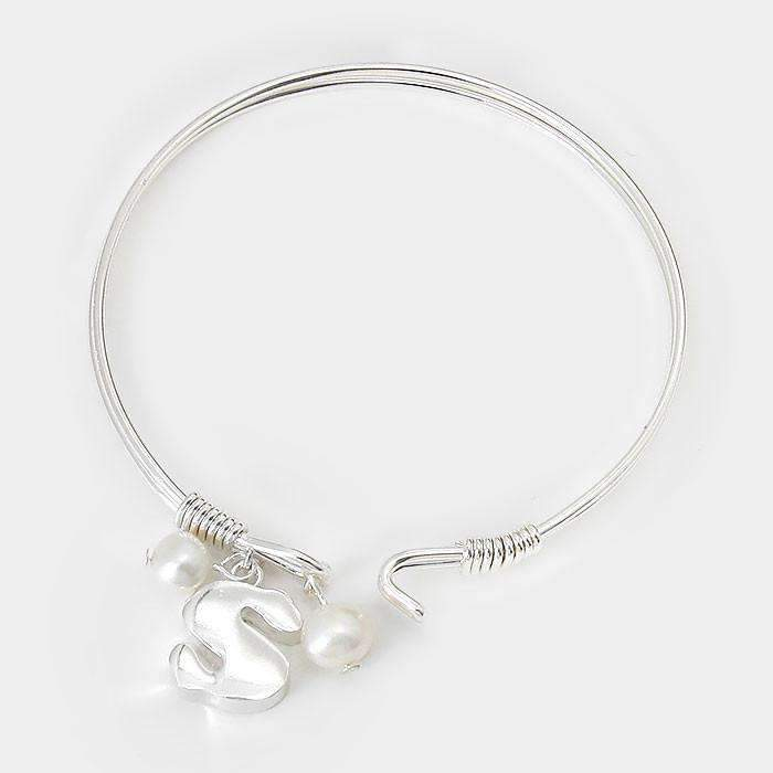 """S"" Initial ""Strong"" Pearl Charm Inspirational Silver Hook Bracelet"