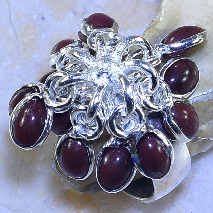 RED AGATE HANDMADE .925 SILVER PLATED DANGLE RING SIZE 9.75