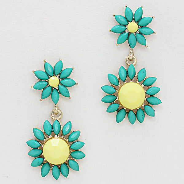 YELLOW, TEAL BLUE, GOLD RESIN SUNFLOWER EARRINGS