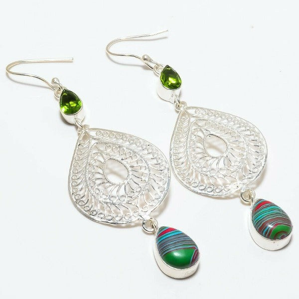 Rainbow Calsilica & Green Peridot Silver Plated Earrings 2.5""