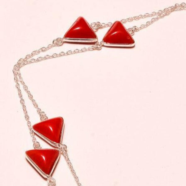 Red Coral Handmade Triangle Gemstone Silver Plated Necklace 36""
