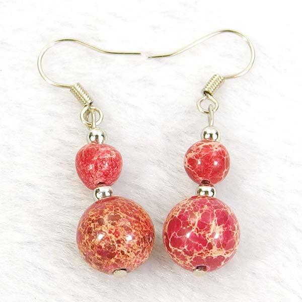 Red Sea Sediment Jasper Natural Gemstone Silver Earrings