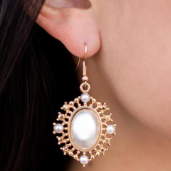 "Simulated Pearl Ornate Gold Earrings ""Red Carpet Romance"""