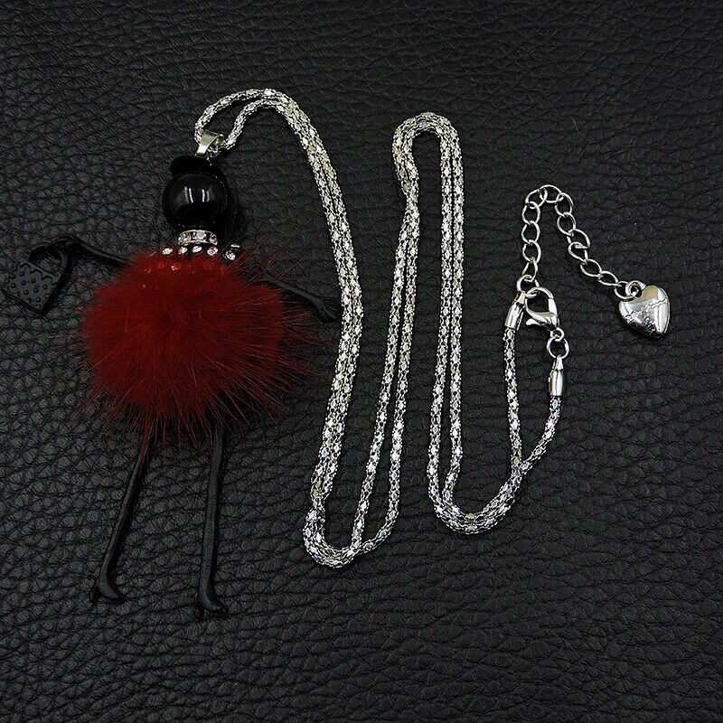 Betsey Johnson Lady In Red Dress Silver Pendant Necklace