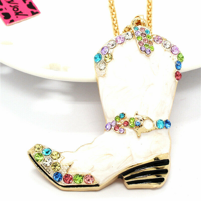 Betsey Johnson Cowboy Boot White Crystals Pendant Necklace