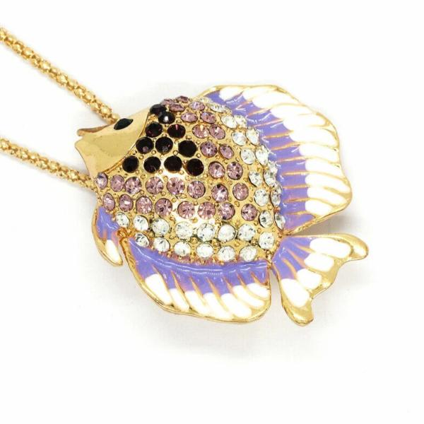 Betsey Johnson Tropical Fish Purple & White Enamel Necklace
