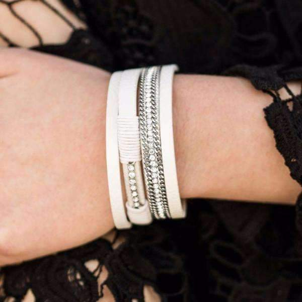 """Rise To The Challenge - White"" Leather & Silver Chain Wrap Bracelet"