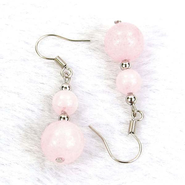 Rose Quartz Natural Gemstone Silver Earrings