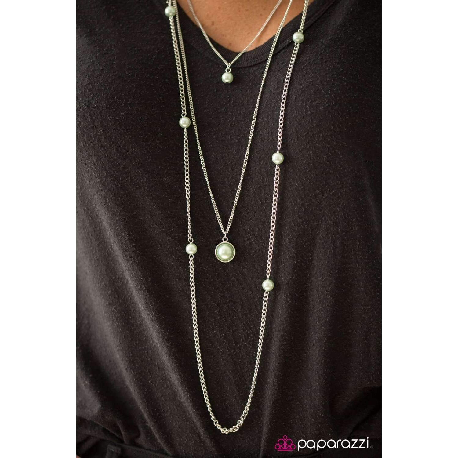 """Runway Shine "" Green Faux Pearls & Silver Necklace & Earring Set"