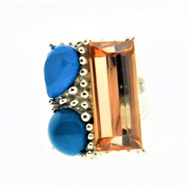 Orange Blue Ring Silver Tone Size 7