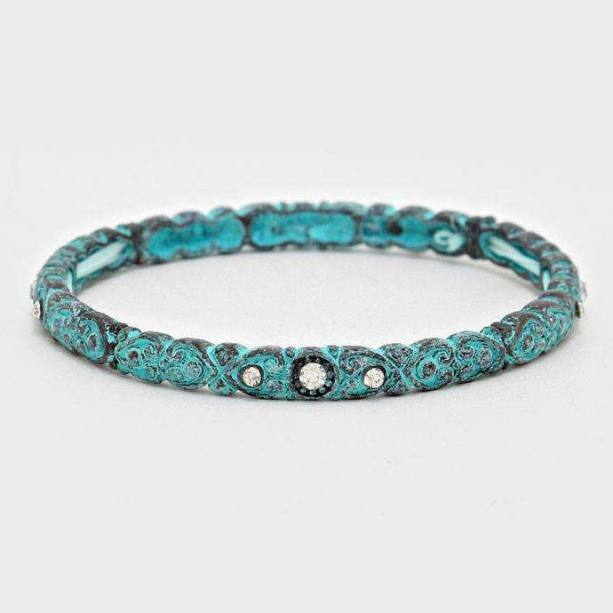 Crystal Accented Blue Filigree Stretch Turquoise Bracelet