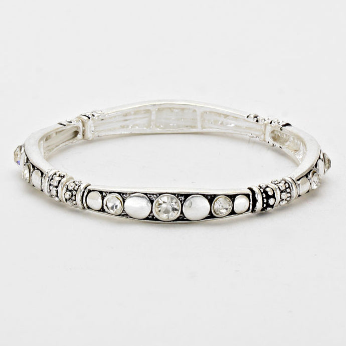 Crystal Accented - Burnished Silver Trendy Fashion Stretchable Bracelet
