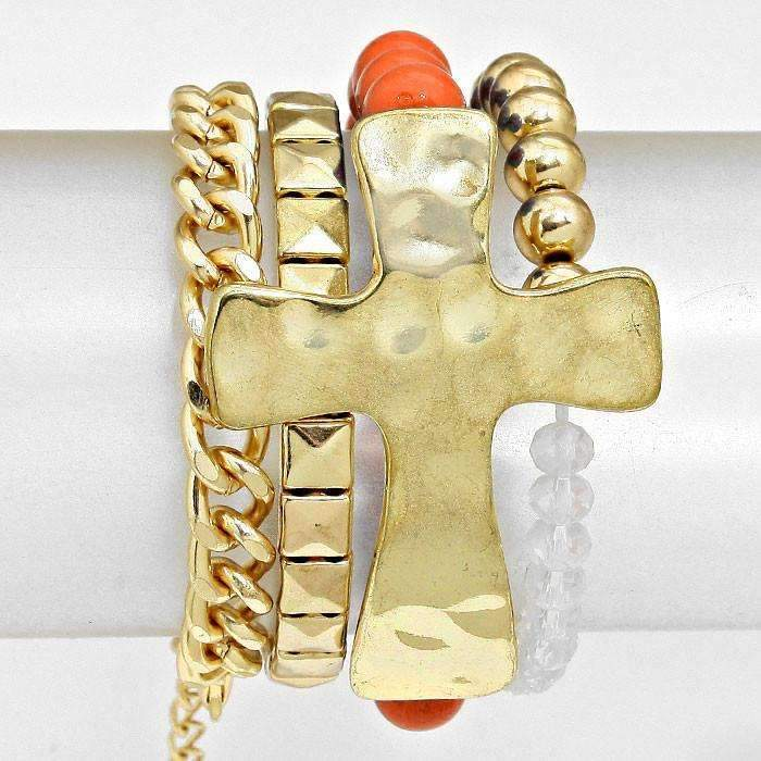 4-Layers Coral, Clear & Gold Cross Stretch Bracelets