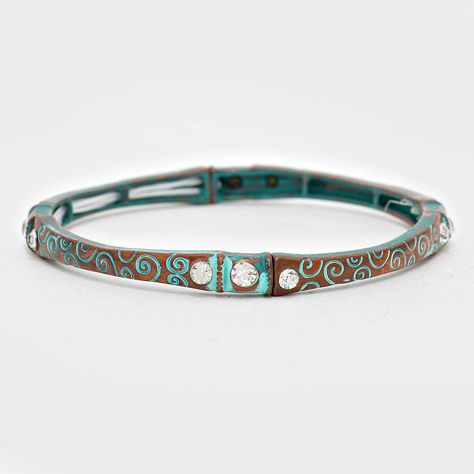 Crystal Accented Turquoise Blue Filigree Stretch  Bracelet