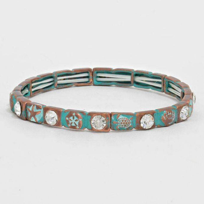 Antique Starfish & Turtle Turquoise and Clear Crystal Stretch Bracelet