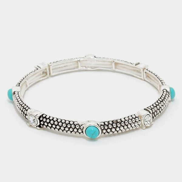 Turquoise Colored Stone & Crystal Embossed Silver Stretch Bracelet