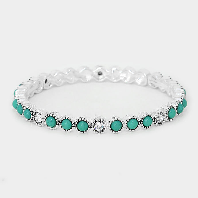 Turquoise Colored Stone & Crystal Antique Silver Stretch Bracelet