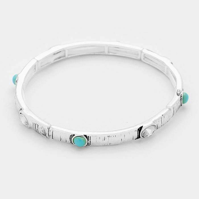 Turquoise Colored & Crystal Accented Antique Silver Stretchable  Bracelet