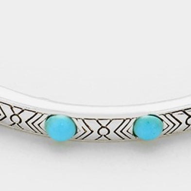 Turquoise Colored Stones Antique Silver Stretch Bracelet